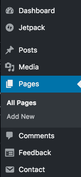 create wordpress pages